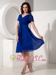 Elegant Royal Blue Mother of the Bride Dress Empire V-neck Chiffon Ruched Knee-length    http://www.facebook.com/quinceaneradress.fashionos.us  www.fashionos.com  A graceful and free-flowing look, this special occasion dress brings a romantic mood. Lightweight chiffon fabric creates delicate flutter sleeves at the bodice and cascades down the knee-length wrap-skirt in a playful ruffle. The wrap bodice has a tight ruche and a shapely v-neckline.