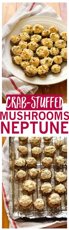 This copycat Mushrooms Neptune recipe inspired by The Keg Steakhouse has a cream cheese, crab and shrimp filling you're gonna die for!