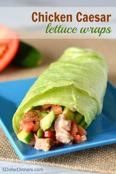 Chicken Caesar Lettuce Wraps ~ a healthy lunch recipe that is perfect for summer from 5DollarDinners.com