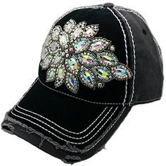 b71fc6ba46736 Cap Couture Women s Baseball Flower Bloom Hat One Size Black at Amazon  Women s Clothing store