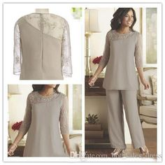 Silver Mother Of The Bride Groom Pants Suits Cheap Plus Size Two Pieces Beaded 3/4 Long Sleeves Chiffon Formal…