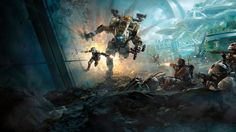 Sci-Fi Mecha Titanfall 2 Game Jack Cooper and BT-7274 in Combat Wallpaper