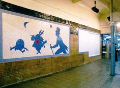 The Art on the Subway Walls  by alley lyles    http://newyork.untappedcities.com/2012/03/16/the-art-on-the-subway-walls/