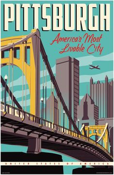 Vintage Style Pittsburgh Travel Poster 16 x 24 by RedRobotCreative, $49.00 — AVAILABLE IN 3 SIZES