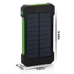 Waterproof 10000mAh Solar Smartphone Charger/Battery with Flashlight and Compass