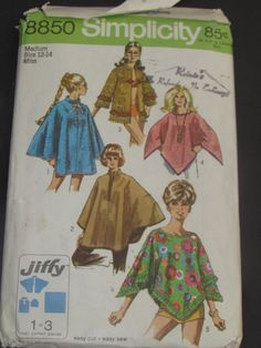 Vintage 1970's 8850 Simplicity Simple Sew Misses Juffy Poncho in Two Length (one size only), Towel Jacket And Cape by mariehotdeals on Etsy