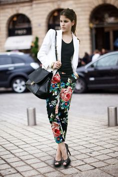 Celine bag, floral print pants & studded peeptoe heels? #cantgowrong