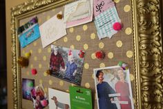 DIY - gold polka dot burlap bulletin board
