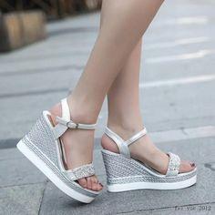Womens Slingback Buckle High Wedge Heels Summer Opentoe Sequins Platform Shoes