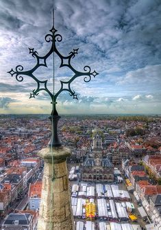 Towering Over Delft    A view from the tower of Nieuwe Kerk in Delft, the Netherlands #Delft #travel #holland