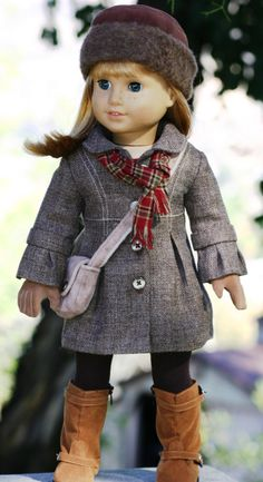 American Girl Doll Bell-Sleeved Wool Coat, Faux Fur Hat, Neck Scarf, Purse, Gloves, Valentine Dress and Textured Tights.  via Etsy.