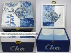 Darling!!!  DIY Decoupage Tea Boxes.  Directions are in Portuguese.  What a sweet gift idea for a tea lover.