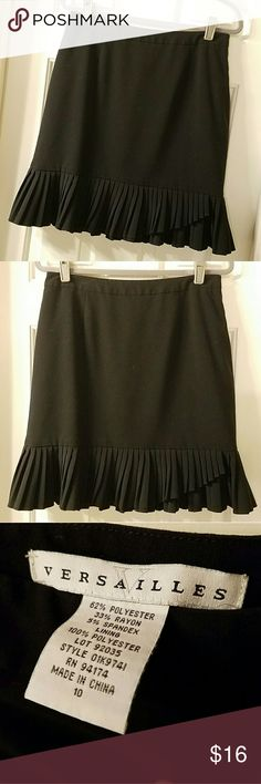 Black Skirt w/ Pleated Hemline Perfect condition.  Only worn 1-2x. Zips on side. Lined (100% Polyester) 62% Polyester  33% Rayon 5% Spandex  Bundle 3+ items for a 20% discount! Reasonable offers considered!  Thanks for shopping my closet! VERSAILLES  Skirts