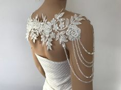 Ivory silver Lace Shoulder Necklace shoulder bridal lace shoulder, wedding shoulder necklace, Rhinestone Necklace, Lace shoulder Jewelry – My All Pin Page Shoulder Jewelry, Shoulder Necklace, Lace Weddings, Wedding Gowns, Wedding Lace, Wedding Decor, Bridal Accessories, Wedding Jewelry, Bridal Lace