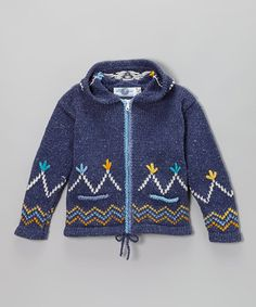 Take a look at this Blue Zigzag Wool-Blend Zip-Up Hoodie - Infant & Girls by The Sweater Venture on #zulily today!