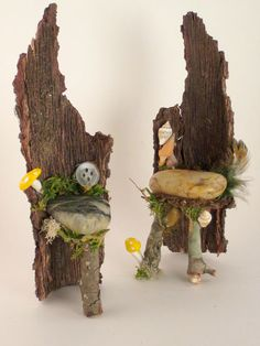 Faerie King and Queen Chairs, Faerie Chairs, Fairy Garden Accessory, Doll House Chairs, Faerie House. $37.00, via Etsy.