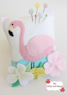 Flamingo Pin Cushion tutorial by Molly and Mama