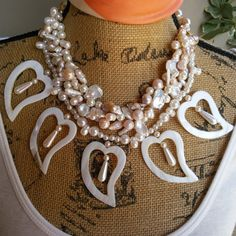 Please Pin if you like this new design!   Add this Beauty to your Spring LOOK!   Check out my 20% OFF Sale!!!! Use Code: 20OFF  Pearl Bridal Statement Necklace, Bold Chunky Necklace,Statement Collar, Bib Statement Necklace