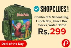 Shopclues #DealofTheDay is offering New Bagther #SchoolBag #Combo of 5-#Bag,#LunchBox,#PencilBox, #Socks and #WaterBottle Only Rs.299. Shopclues Coupon Code – SCEDM19TH1  http://www.paisebachaoindia.com/combo-of-5-school-bag-lunch-box-pencil-box-socks-water-bottle-only-rs-299-shopclues/