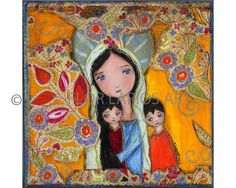 Mother with Two Sons  Folk Art  PRINT from Painting by FlorLarios