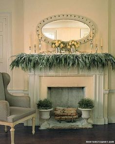 I like how the garland is falling from the mantle as opposed to sitting on top of it.  The boxwoods in urns at the base is very Virginia