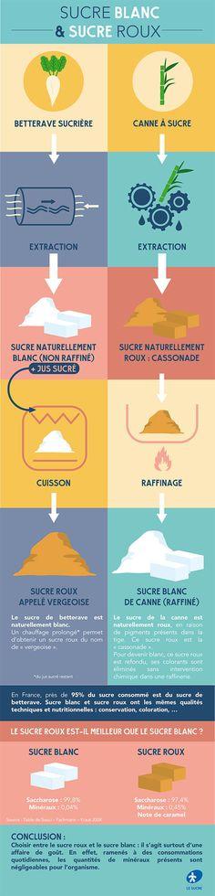 Il existe deux manières d'obtenir du sucre blanc et du sucre roux à partir de la betterave et de la canne à sucre.
