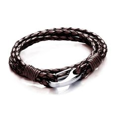 Tribal Steel - AM012brn-19 - Bracelet Homme - Cuir Marron - Acier Inoxydable - 19 cm: Amazon.fr: Bijoux