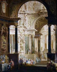 Vittorio Bigari, The feast of Absalon Architecture Baroque, Classic Architecture, Historical Architecture, Ancient Architecture, Architecture Details, Fantasy Landscape, Fantasy Art, Environment Concept Art, Classical Art