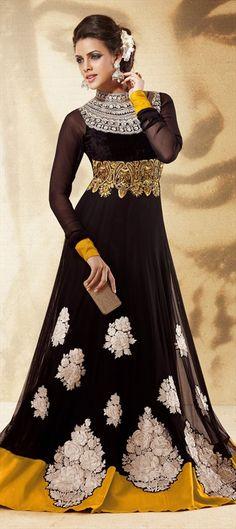Black and Grey color family unstitched Anarkali Suits. Indian, Muslim, Arabic, Sri Lanka.