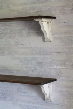 DIY Shelves and Do It Yourself Shelving Ideas - DIY Farmhouse Shelves - Easy Step by Step Shelf Projects for Bedroom, Bathroom, Closet, Wall, Kitchen and Apartment. Floating Units, Rustic Pallet Looks and Simple Storage Plans #diy #diydecor #homeimprovement #shelves Country Farmhouse Decor, Farmhouse Style, Farmhouse Shelving, Shelf Brackets Farmhouse, Country Shelves, Rustic Cottage, White Farmhouse, Country Chic, French Country