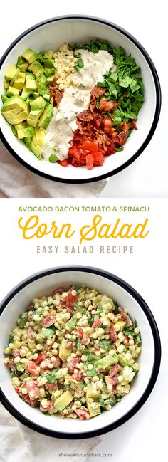 Avocado Bacon Tomato Spinach Corn Salad Recipe