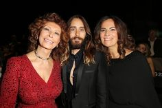 PARIS, FRANCE - JULY 08: Sofia Loren, Jared Leto and Roberta Armani attend at Giorgio Armani Prive show as part of Paris Fashion Week - Haute Couture Fall/Winter 2014-2015 at Theatre National de Chaillot on July 8, 2014 in Paris, France. (Photo by Michel Dufour/WireImage)