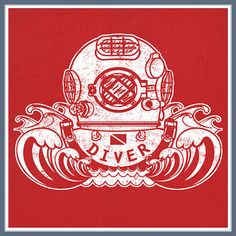 SCUBA Diver Helmet T Shirt Dive Flag Deep Sea by Shirtmandude, $12.00