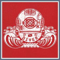 SCUBA Diver Helmet T Shirt Dive Flag Deep Sea Diving Tee