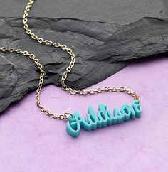 Acrylic name necklace available in a variety of colors. We ship it!