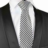 Black and white striped Silk Tie with black silk pouch (S002)