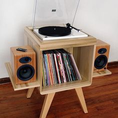 All in one turntable piece. Love the bamboo speakers! All in one turntable piece. Love the bamboo speakers! Record Player Table, Record Players, Speakers For Record Player, Record Table, Audio Player, Whole Home Audio, Record Cabinet, Vinyl Room, Vinyl Record Storage