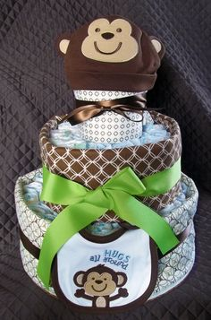 Customized 3-tier Diaper Cakes (made to order). $85.00, via Etsy.