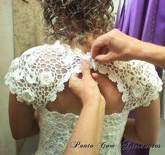 Ponto Com Artesanatos: Vestido de Noiva Sereia em Crochê Irlandês
