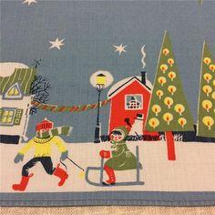 QQQ: retro, vintage, Ljust blå löpare till jul, handtryckt ,50-60-tal på