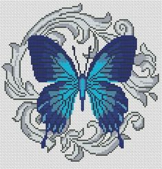 Ideas For Embroidery Butterfly Pattern Watches Butterfly Stitches, Butterfly Cross Stitch, Butterfly Embroidery, Beaded Cross Stitch, Butterfly Pattern, Cross Stitch Flowers, Cross Stitch Charts, Cross Stitch Designs, Cross Stitch Embroidery