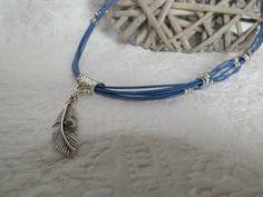 Collier multi-rangs codons de cuir et perles européennes style tibetain : Collier par axellecreations