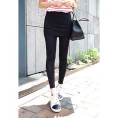 Slimming Solid Color Women's Skirt Splicing Leggings, BLACK, ONE SIZE in Leggings | DressLily.com