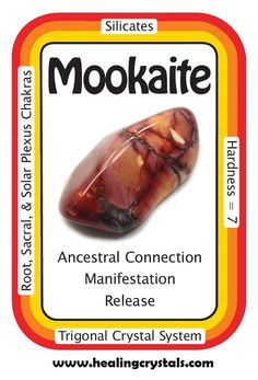 """Mookaite, """"I benefit from the wisdom of my ancestors and the energy of the Earth."""" Use this tumbled Mookaite Jasper during your meditations to help with the release of old patterns that inhibit growth. Mookaite Jasper can help those who are trying to work Healing Rocks, Crystal Healing Stones, Stones And Crystals, Gem Stones, Minerals And Gemstones, Crystals Minerals, Rocks And Minerals, Natural Gemstones, Crystal Identification"""