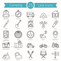 25 Camping Line Icons. Download here: http://graphicriver.net/item/25-camping-line-icons/15905460?ref=ksioks