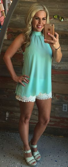 Scalloped Tie Back Top: Mint from privityboutique