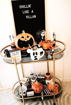 Halloween Bar Cart Disney You are in the right place about Disney Home Decor etsy Here we offer you Halloween Inspo, Halloween Mug, Halloween House, Halloween 2020, Holidays Halloween, Happy Halloween, Disney Halloween Decorations, Halloween Home Decor, Halloween Crafts