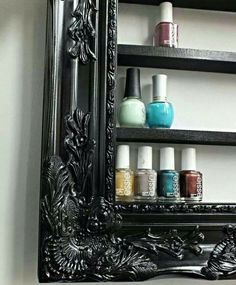 Frame a wall nail polish display with picture frame or DIY frame, maybe using crown molding or baseboard material. Great idea!