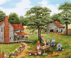 Country Memories watermelons red wagon flowers old by jagartist, $35.95