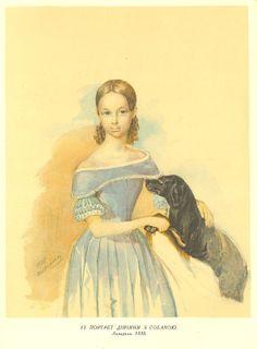Портрет дівчини з собакою. Брістольський картон, акварель (24,6 × 19,4). [Пб.]. 1838.